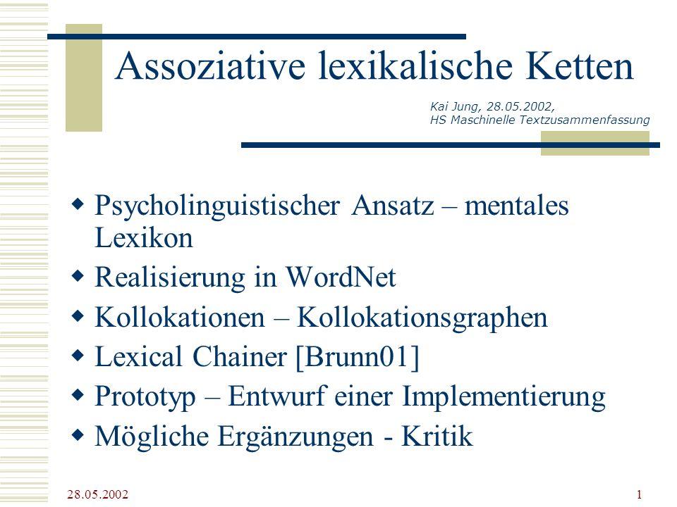28.05.2002 1 Assoziative lexikalische Ketten Psycholinguistischer Ansatz – mentales Lexikon Realisierung in WordNet Kollokationen – Kollokationsgraphe
