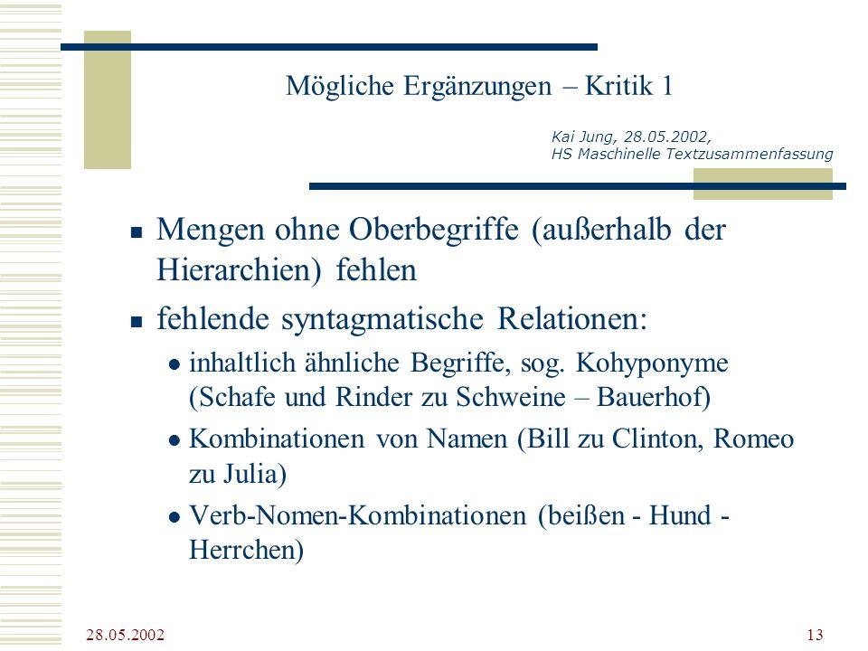 28.05.2002 13 Mögliche Ergänzungen – Kritik 1 Mengen ohne Oberbegriffe (außerhalb der Hierarchien) fehlen fehlende syntagmatische Relationen: inhaltli