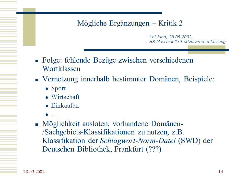 28.05.2002 14 Mögliche Ergänzungen – Kritik 2 Folge: fehlende Bezüge zwischen verschiedenen Wortklassen Vernetzung innerhalb bestimmter Domänen, Beisp