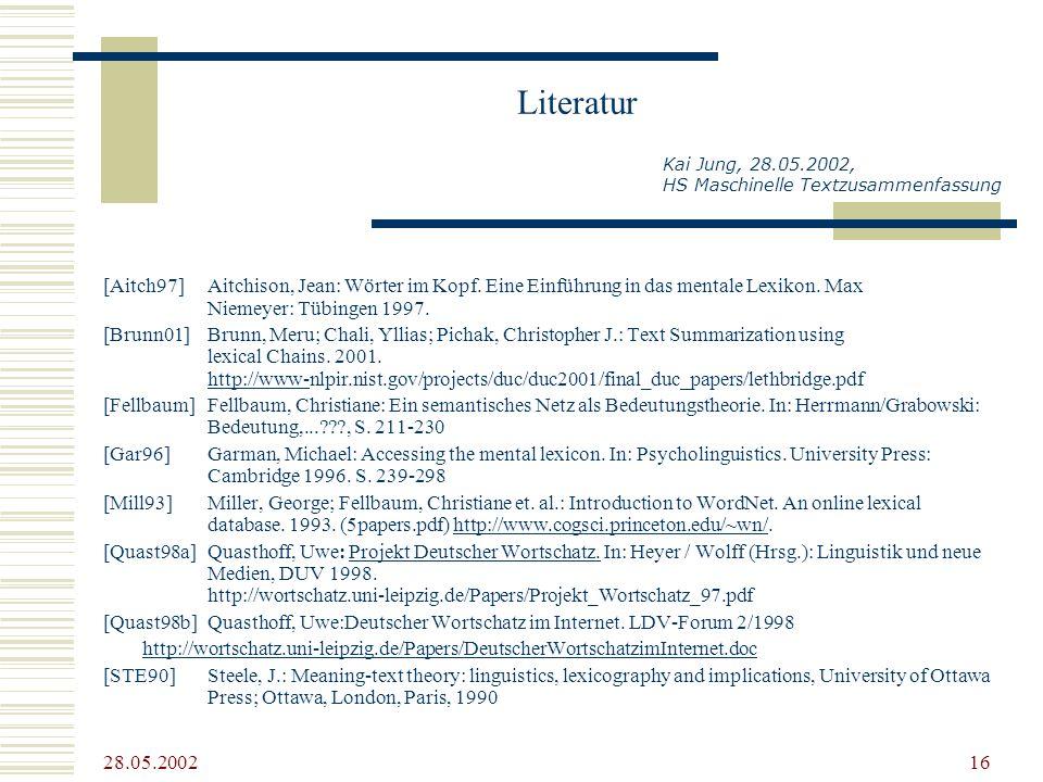 28.05.2002 16 Literatur [Aitch97] Aitchison, Jean: Wörter im Kopf. Eine Einführung in das mentale Lexikon. Max Niemeyer: Tübingen 1997. [Brunn01]Brunn