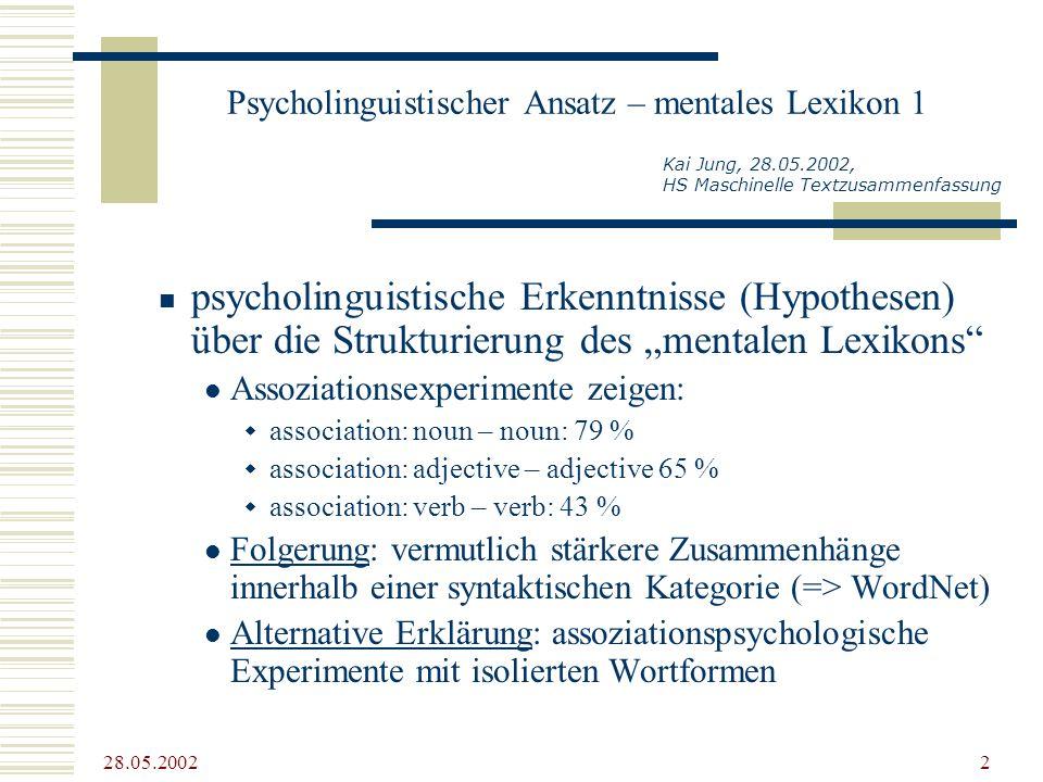 28.05.2002 2 Psycholinguistischer Ansatz – mentales Lexikon 1 psycholinguistische Erkenntnisse (Hypothesen) über die Strukturierung des mentalen Lexik