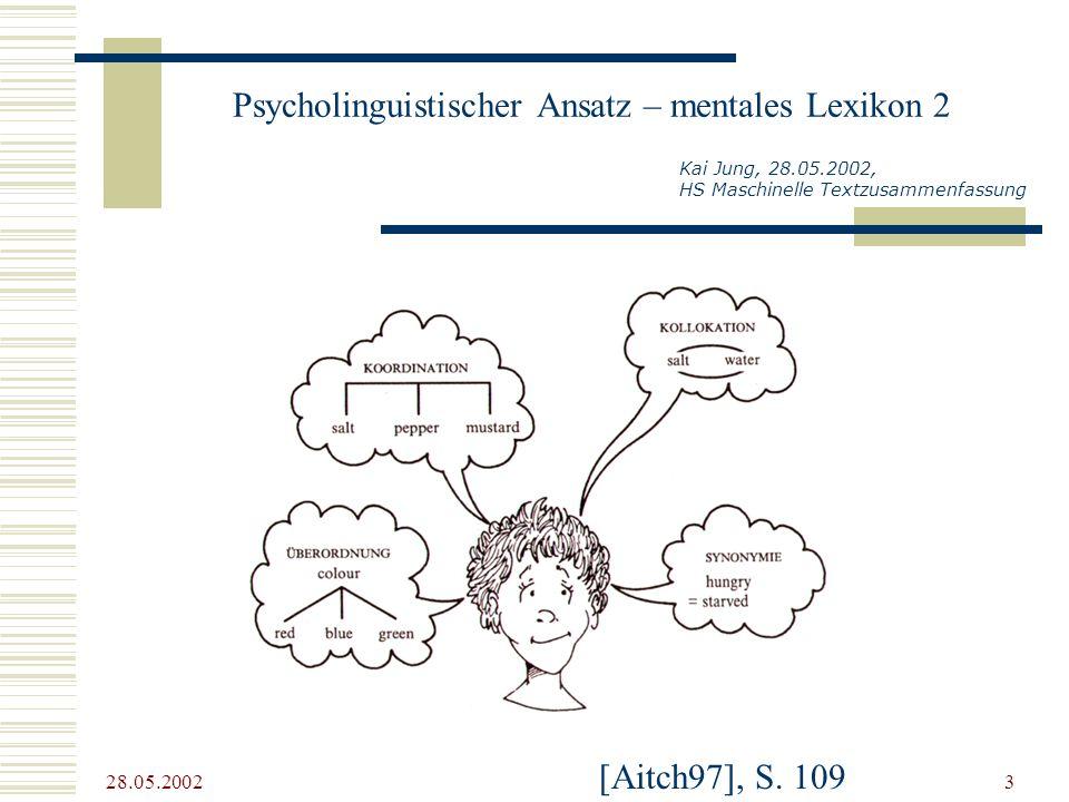 28.05.2002 3 Psycholinguistischer Ansatz – mentales Lexikon 2 Kai Jung, 28.05.2002, HS Maschinelle Textzusammenfassung [Aitch97], S. 109