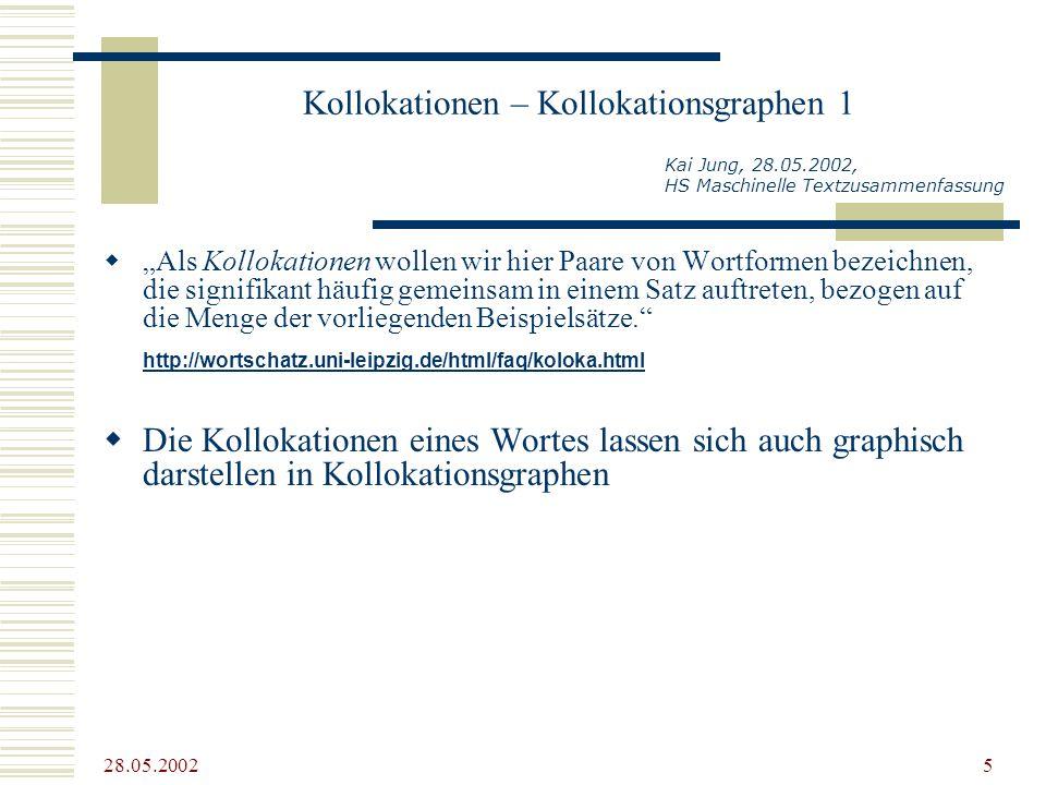 28.05.2002 5 Kollokationen – Kollokationsgraphen 1 Als Kollokationen wollen wir hier Paare von Wortformen bezeichnen, die signifikant häufig gemeinsam