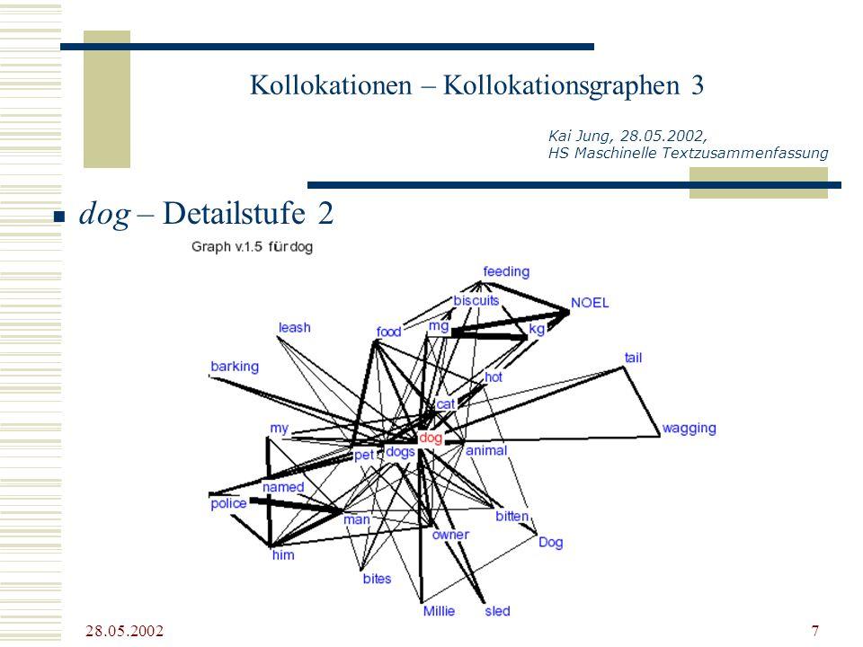 28.05.2002 7 Kollokationen – Kollokationsgraphen 3 Kai Jung, 28.05.2002, HS Maschinelle Textzusammenfassung dog – Detailstufe 2