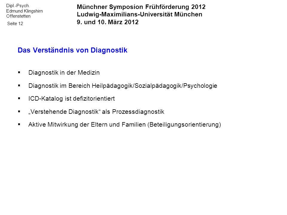 Dipl.-Psych. Edmund Klingshirn Offenstetten Seite 12 Das Verständnis von Diagnostik Diagnostik in der Medizin Diagnostik im Bereich Heilpädagogik/Sozi