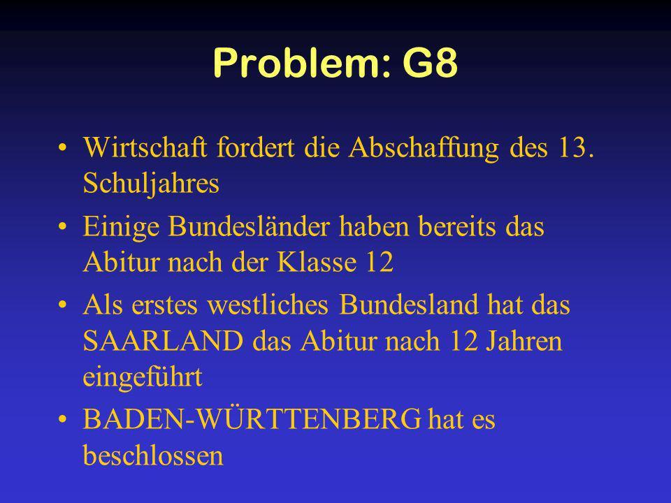 Problem: G8 Wirtschaft fordert die Abschaffung des 13. Schuljahres Einige Bundesländer haben bereits das Abitur nach der Klasse 12 Als erstes westlich