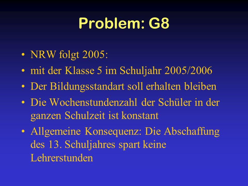 Problem: G8 NRW folgt 2005: mit der Klasse 5 im Schuljahr 2005/2006 Der Bildungsstandart soll erhalten bleiben Die Wochenstundenzahl der Schüler in de