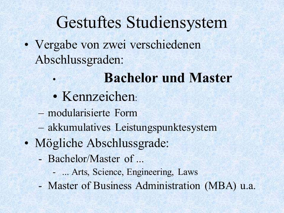 Gestuftes Studiensystem Vergabe von zwei verschiedenen Abschlussgraden: Bachelor und Master Kennzeichen : –modularisierte Form –akkumulatives Leistung