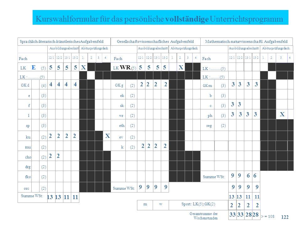 Kurswahlformular für das persönliche vollständige Unterrichtsprogramm X LK WR.(5) 5 55 5 4 4 4 4 22 2 2 33 3 3 33 X 3 333 22 2 2 X 222 2 2 2 99 66 9 9 9 9 99 9 9 13 11 13 11 b (3) (2) (4) GK d 2.