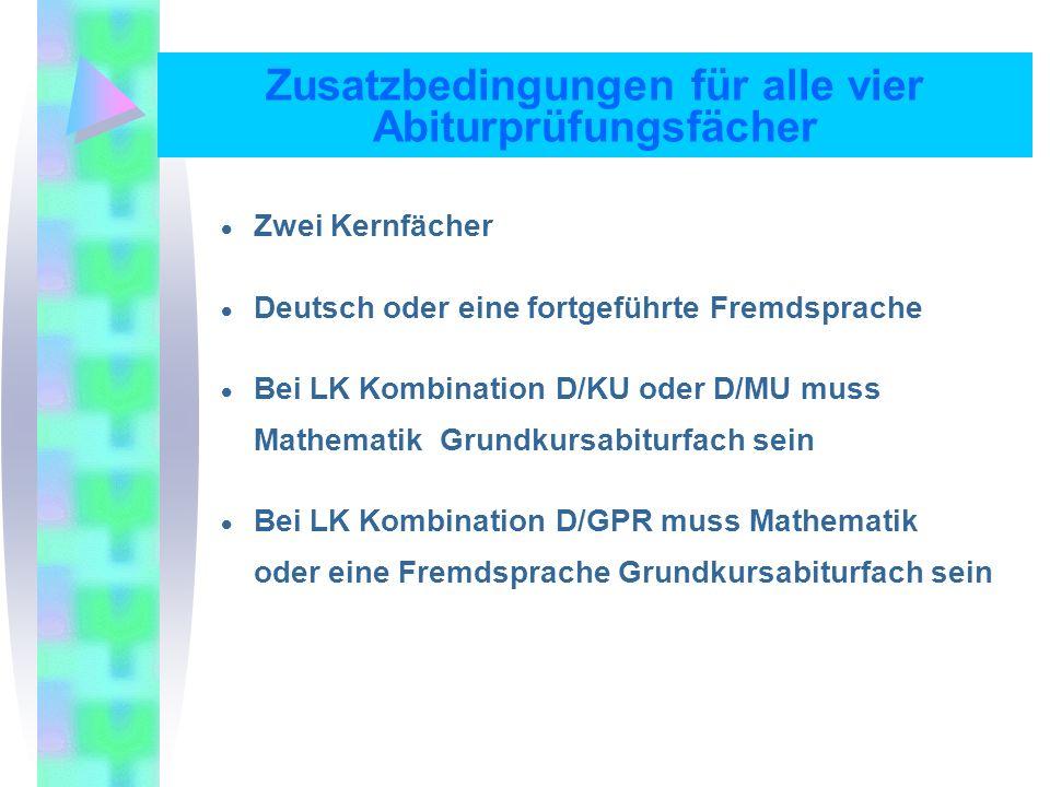 Zusatzbedingungen für alle vier Abiturprüfungsfächer Zwei Kernfächer Deutsch oder eine fortgeführte Fremdsprache Bei LK Kombination D/KU oder D/MU muss Mathematik Grundkursabiturfach sein Bei LK Kombination D/GPR muss Mathematik oder eine Fremdsprache Grundkursabiturfach sein