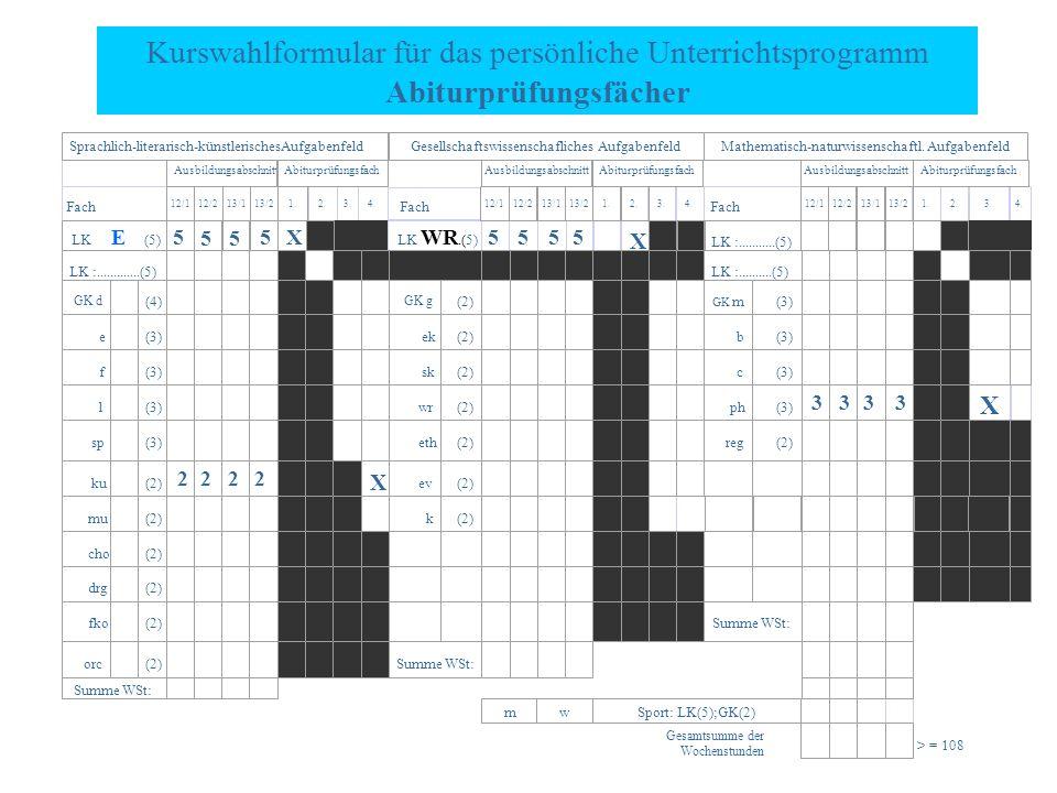 Kurswahlformular für das persönliche Unterrichtsprogramm Abiturprüfungsfächer Fach 2.