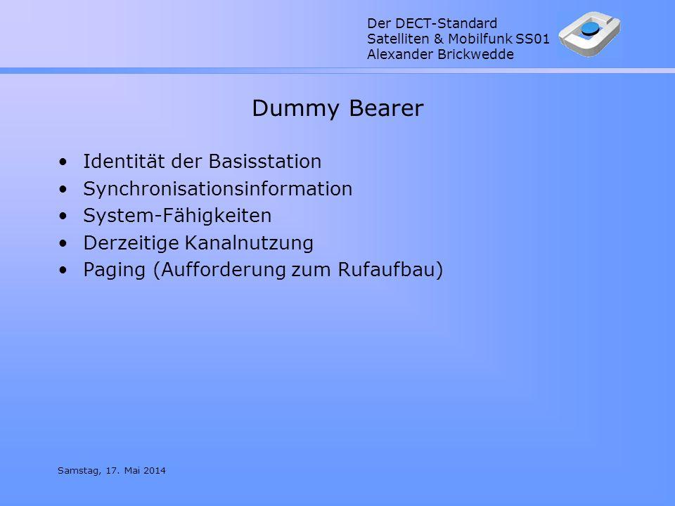Der DECT-Standard Satelliten & Mobilfunk SS01 Alexander Brickwedde Samstag, 17. Mai 2014 Dummy Bearer Identität der Basisstation Synchronisationsinfor