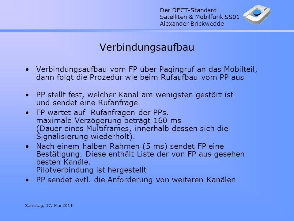 Der DECT-Standard Satelliten & Mobilfunk SS01 Alexander Brickwedde Samstag, 17. Mai 2014 Verbindungsaufbau Verbindungsaufbau vom FP über Pagingruf an