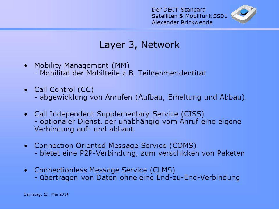 Der DECT-Standard Satelliten & Mobilfunk SS01 Alexander Brickwedde Samstag, 17. Mai 2014 Layer 3, Network Mobility Management (MM) - Mobilität der Mob