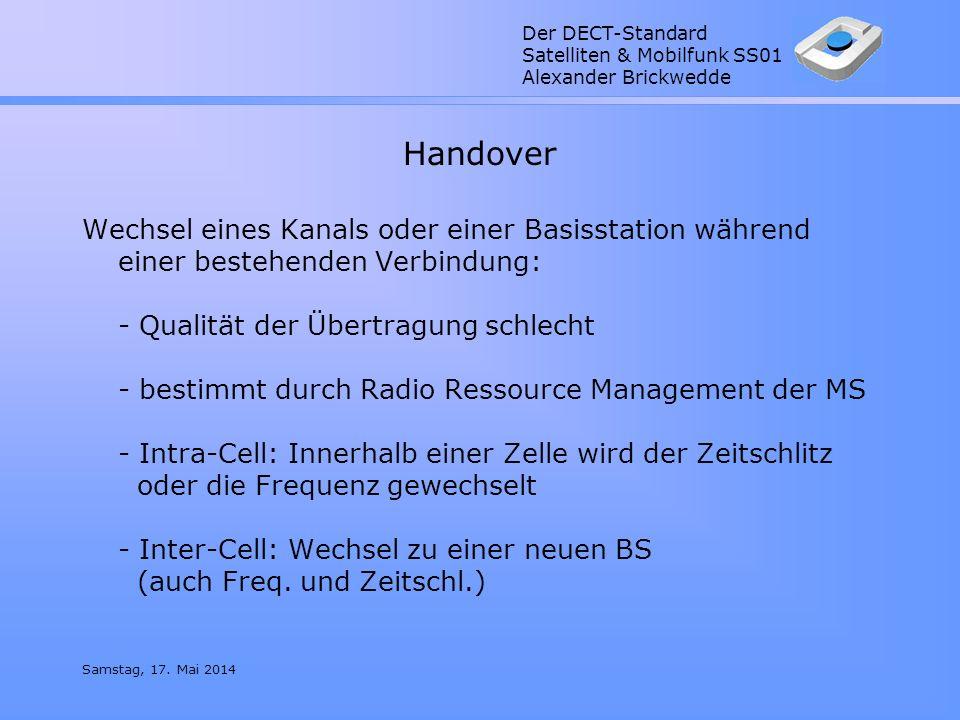 Der DECT-Standard Satelliten & Mobilfunk SS01 Alexander Brickwedde Samstag, 17. Mai 2014 Handover Wechsel eines Kanals oder einer Basisstation während