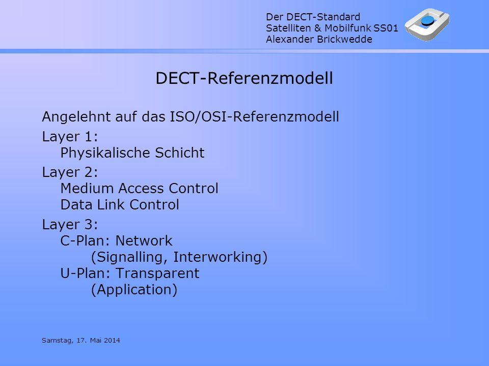 Der DECT-Standard Satelliten & Mobilfunk SS01 Alexander Brickwedde Samstag, 17. Mai 2014 DECT-Referenzmodell Angelehnt auf das ISO/OSI-Referenzmodell