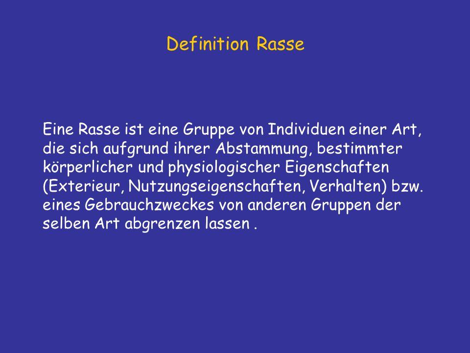 Definition Rasse Eine Rasse ist eine Gruppe von Individuen einer Art, die sich aufgrund ihrer Abstammung, bestimmter körperlicher und physiologischer Eigenschaften (Exterieur, Nutzungseigenschaften, Verhalten) bzw.