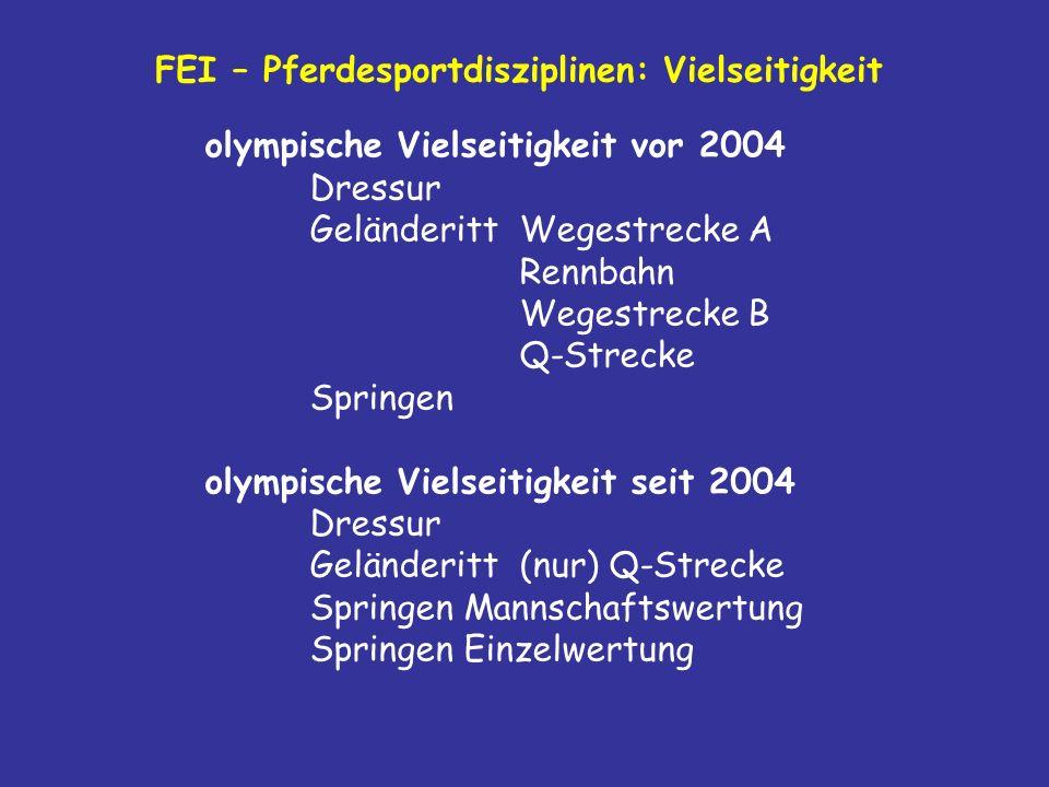 FEI – Pferdesportdisziplinen: Vielseitigkeit olympische Vielseitigkeit vor 2004 Dressur Geländeritt Wegestrecke A Rennbahn Wegestrecke B Q-Strecke Springen olympische Vielseitigkeit seit 2004 Dressur Geländeritt (nur) Q-Strecke Springen Mannschaftswertung Springen Einzelwertung
