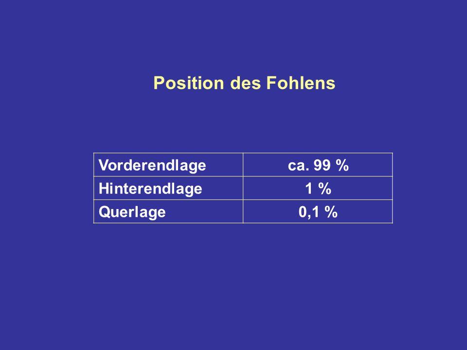 Position des Fohlens Vorderendlageca. 99 % Hinterendlage1 % Querlage0,1 %
