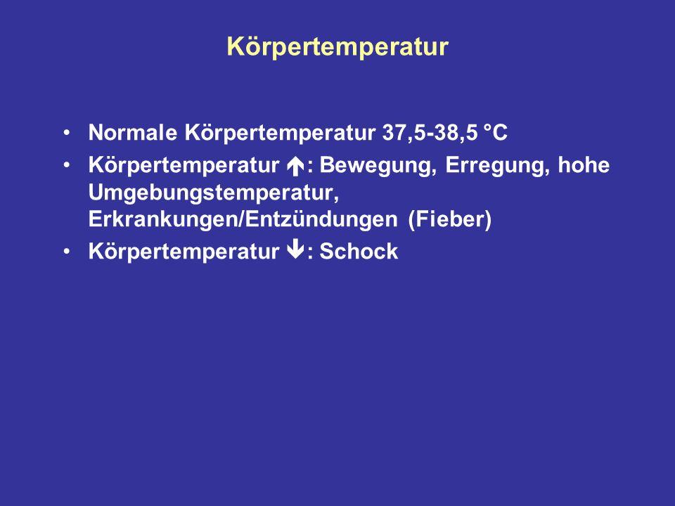 Körpertemperatur Normale Körpertemperatur 37,5-38,5 °C Körpertemperatur : Bewegung, Erregung, hohe Umgebungstemperatur, Erkrankungen/Entzündungen (Fieber) Körpertemperatur : Schock