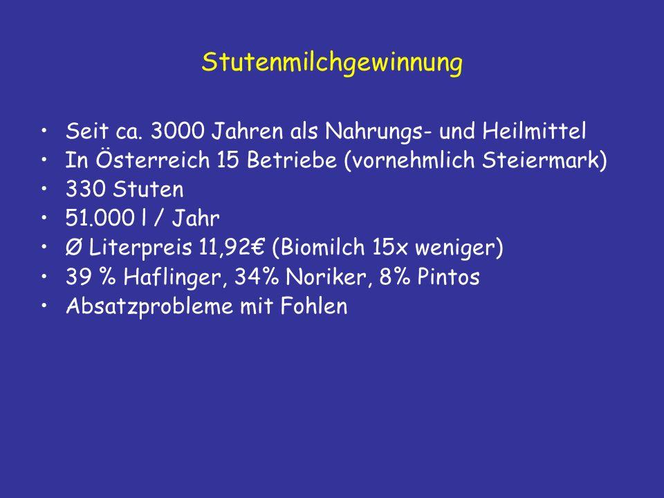 Stutenmilchgewinnung Seit ca.