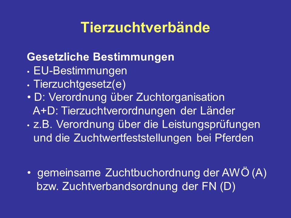 Tierzuchtverbände Gesetzliche Bestimmungen EU-Bestimmungen Tierzuchtgesetz(e) D: Verordnung über Zuchtorganisation A+D: Tierzuchtverordnungen der Länder z.B.