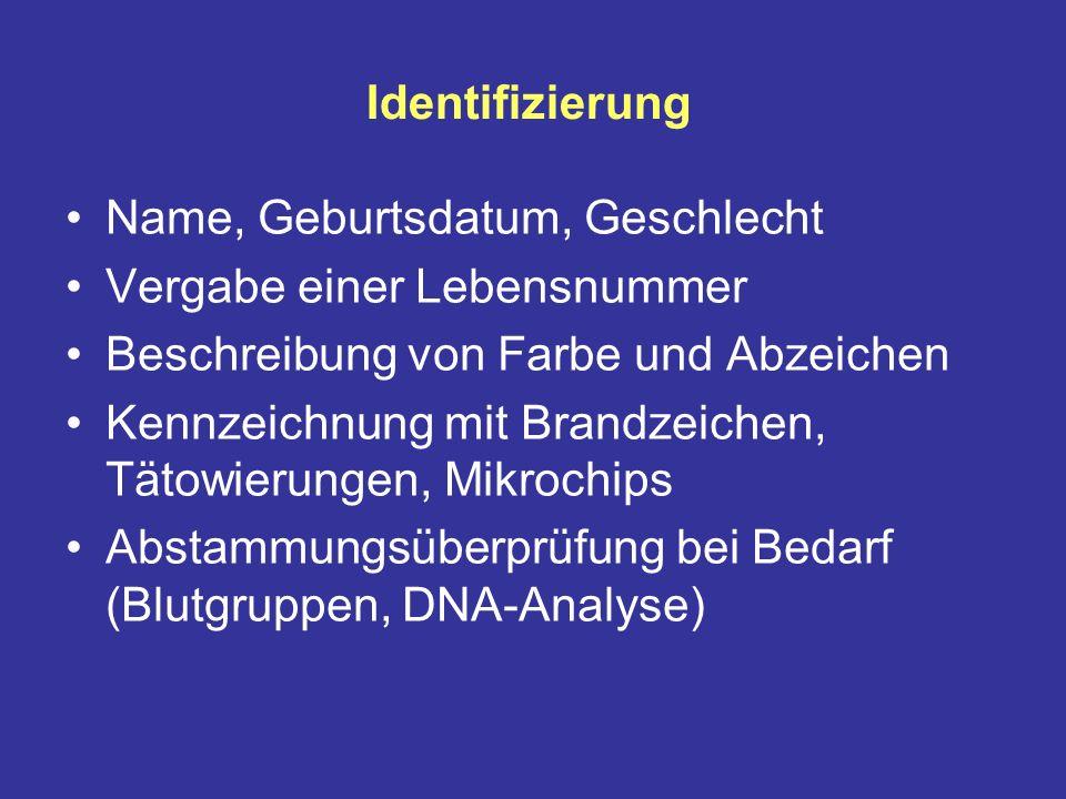 Identifizierung Name, Geburtsdatum, Geschlecht Vergabe einer Lebensnummer Beschreibung von Farbe und Abzeichen Kennzeichnung mit Brandzeichen, Tätowierungen, Mikrochips Abstammungsüberprüfung bei Bedarf (Blutgruppen, DNA-Analyse)