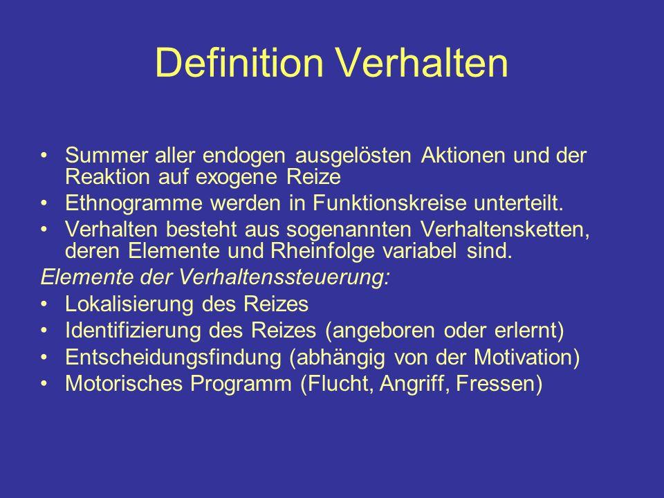 Definition Verhalten Summer aller endogen ausgelösten Aktionen und der Reaktion auf exogene Reize Ethnogramme werden in Funktionskreise unterteilt.