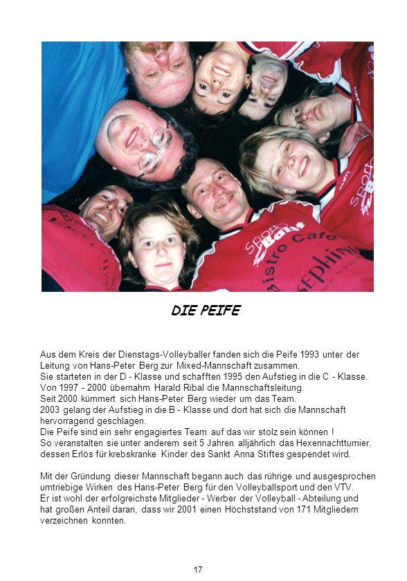 DIE PEIFE Aus dem Kreis der Dienstags-Volleyballer fanden sich die Peife 1993 unter der Leitung von Hans-Peter Berg zur Mixed-Mannschaft zusammen. Sie