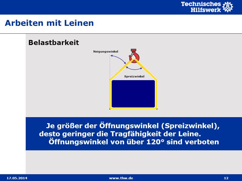 17.05.2014www.thw.de12 Belastbarkeit Je größer der Öffnungswinkel (Spreizwinkel), desto geringer die Tragfähigkeit der Leine.