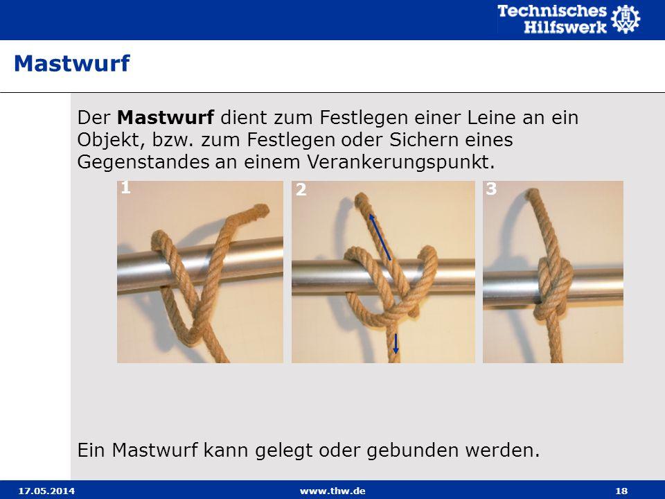 17.05.2014www.thw.de18 Der Mastwurf dient zum Festlegen einer Leine an ein Objekt, bzw.