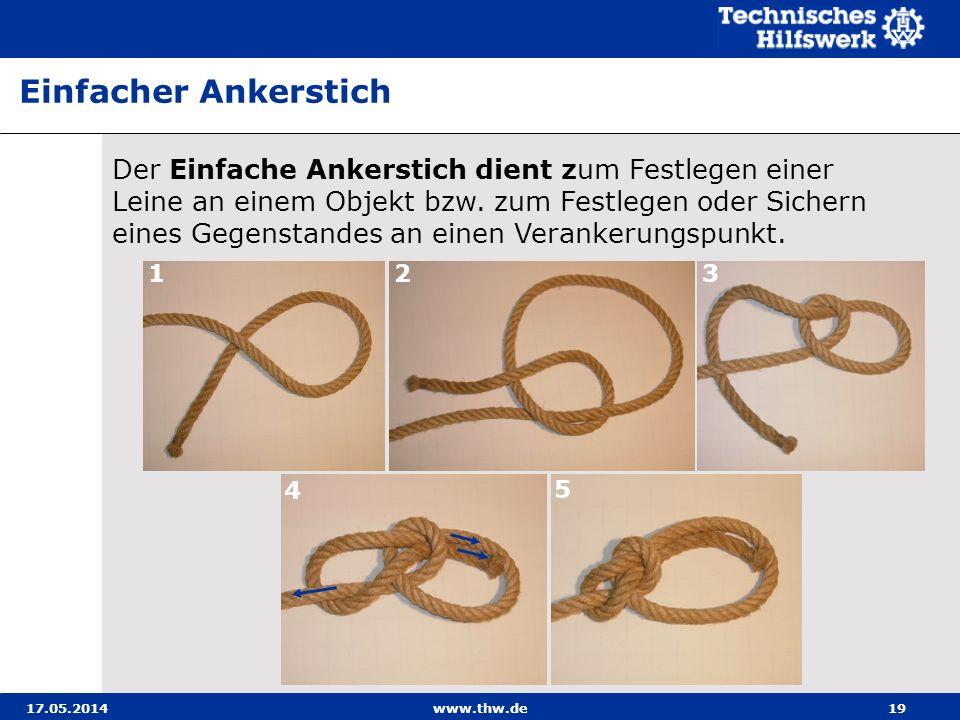 17.05.2014www.thw.de19 Der Einfache Ankerstich dient zum Festlegen einer Leine an einem Objekt bzw.