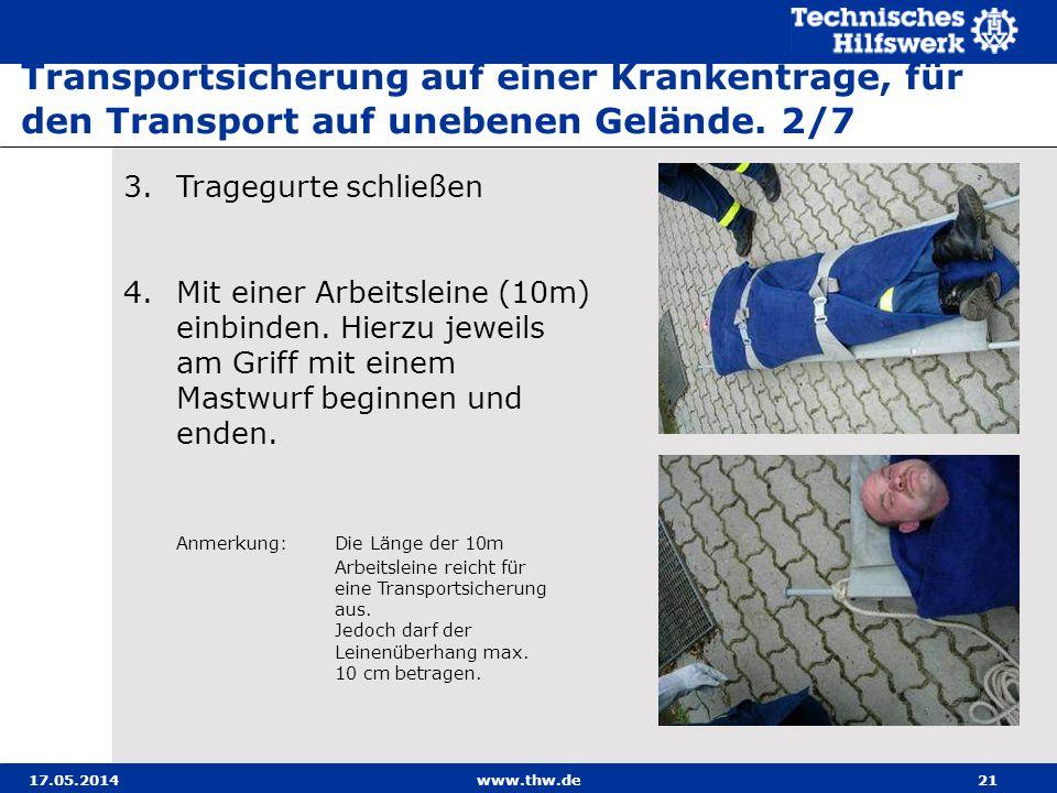 17.05.2014www.thw.de21 3.Tragegurte schließen 4.Mit einer Arbeitsleine (10m) einbinden.
