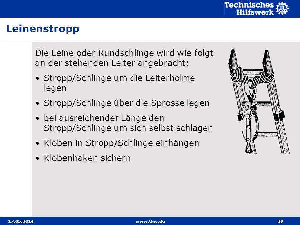 17.05.2014www.thw.de29 Die Leine oder Rundschlinge wird wie folgt an der stehenden Leiter angebracht: Stropp/Schlinge um die Leiterholme legen Stropp/Schlinge über die Sprosse legen bei ausreichender Länge den Stropp/Schlinge um sich selbst schlagen Kloben in Stropp/Schlinge einhängen Klobenhaken sichern Leinenstropp