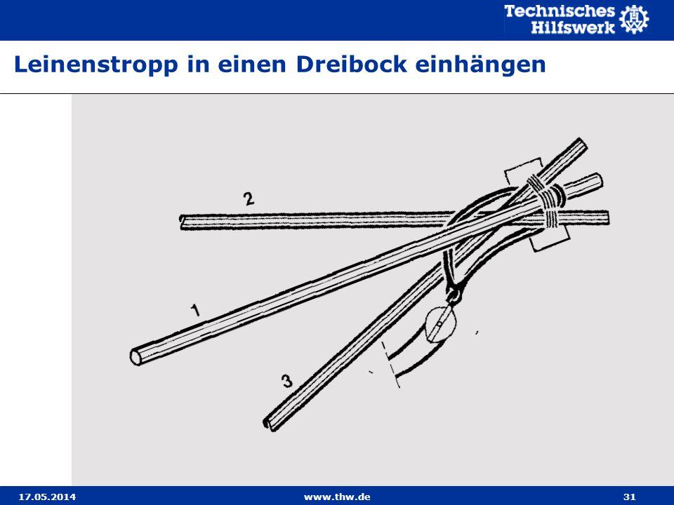 17.05.2014www.thw.de31 Leinenstropp in einen Dreibock einhängen