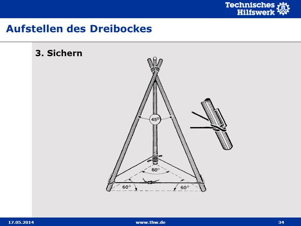 17.05.2014www.thw.de34 3. Sichern Aufstellen des Dreibockes