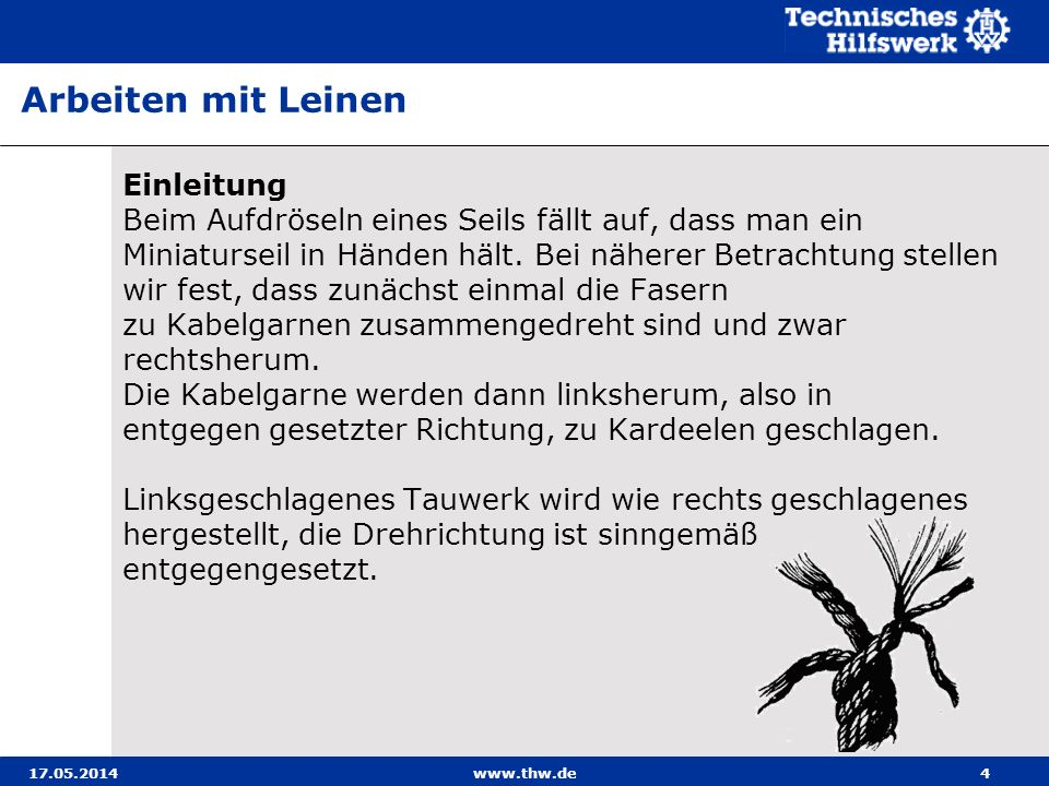 17.05.2014www.thw.de35 Herstellen eines Kreuzbundes zum Verbinden sich schräg oder rechtwinklig kreuzender Hölzer (beispielsweise für einen Zweibock), die auf Schub oder Zug beansprucht werden sollen.