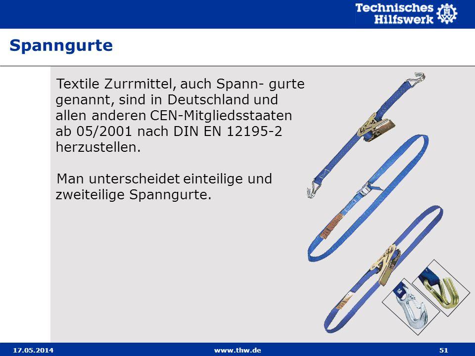 17.05.2014www.thw.de51 Textile Zurrmittel, auch Spann- gurte genannt, sind in Deutschland und allen anderen CEN-Mitgliedsstaaten ab 05/2001 nach DIN EN 12195-2 herzustellen.