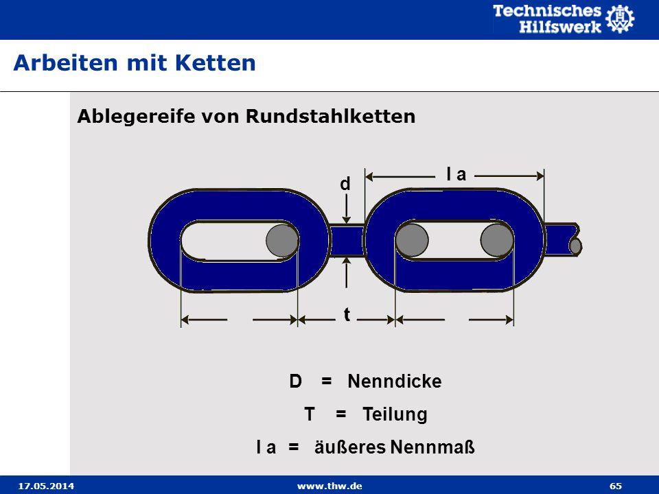 17.05.2014www.thw.de65 Ablegereife von Rundstahlketten Arbeiten mit Ketten d t l a D =Nenndicke T=Teilung l a=äußeres Nennmaß