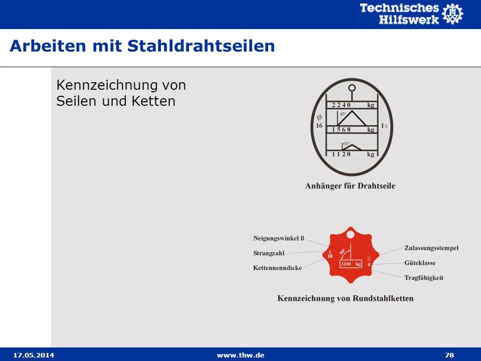 17.05.2014www.thw.de78 Arbeiten mit Stahldrahtseilen Kennzeichnung von Seilen und Ketten
