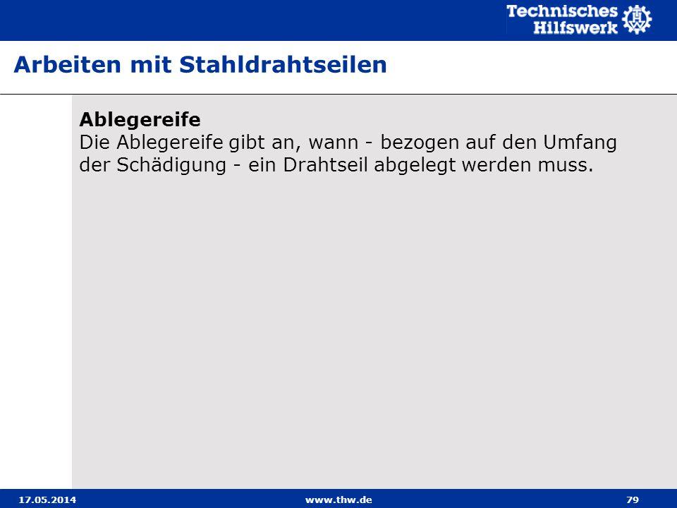 17.05.2014www.thw.de79 Ablegereife Die Ablegereife gibt an, wann - bezogen auf den Umfang der Schädigung - ein Drahtseil abgelegt werden muss.