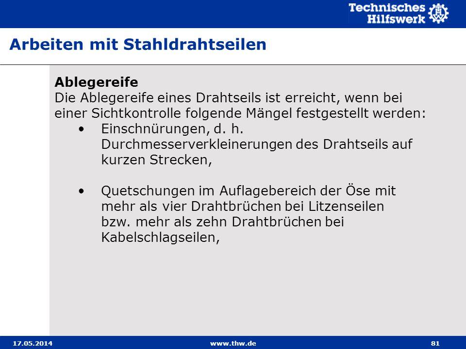 17.05.2014www.thw.de81 Ablegereife Die Ablegereife eines Drahtseils ist erreicht, wenn bei einer Sichtkontrolle folgende Mängel festgestellt werden: Einschnürungen, d.