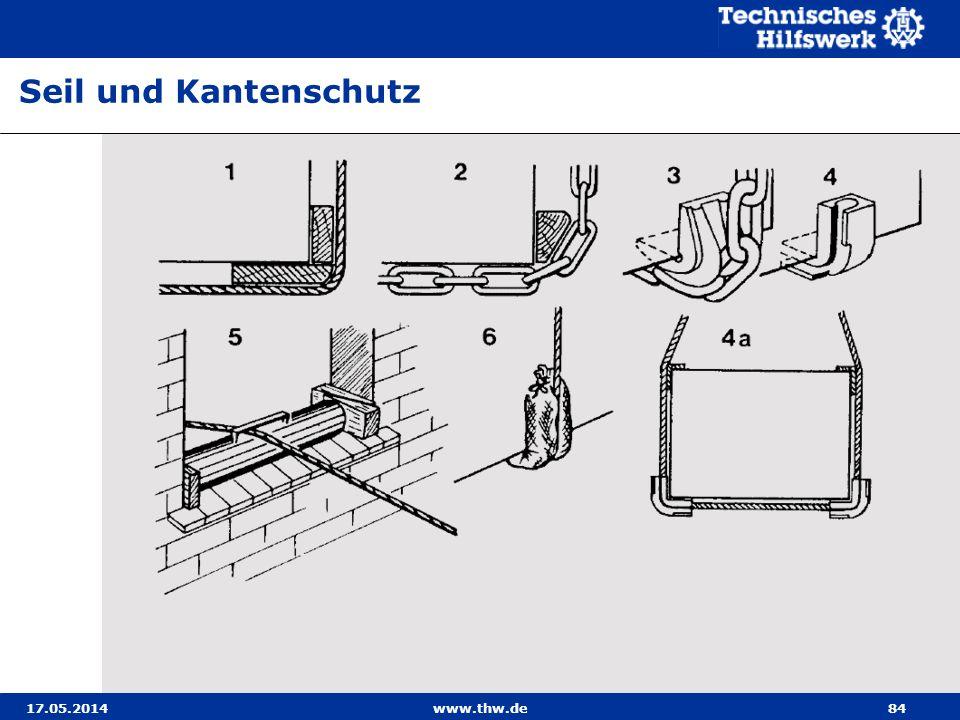 17.05.2014www.thw.de84 Seil und Kantenschutz