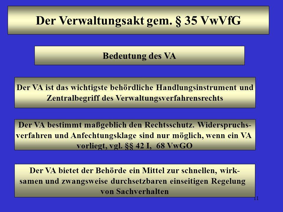 11 Der Verwaltungsakt gem. § 35 VwVfG Bedeutung des VA Der VA ist das wichtigste behördliche Handlungsinstrument und Zentralbegriff des Verwaltungsver