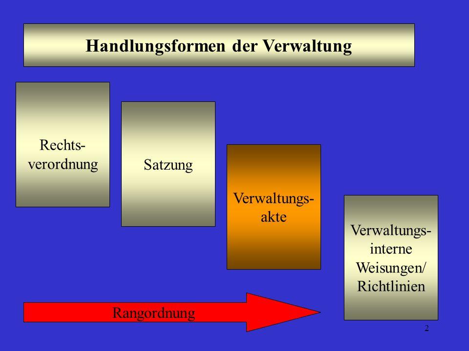 2 Handlungsformen der Verwaltung Verwaltungs- akte Rechts- verordnung Satzung Verwaltungs- interne Weisungen/ Richtlinien Rangordnung