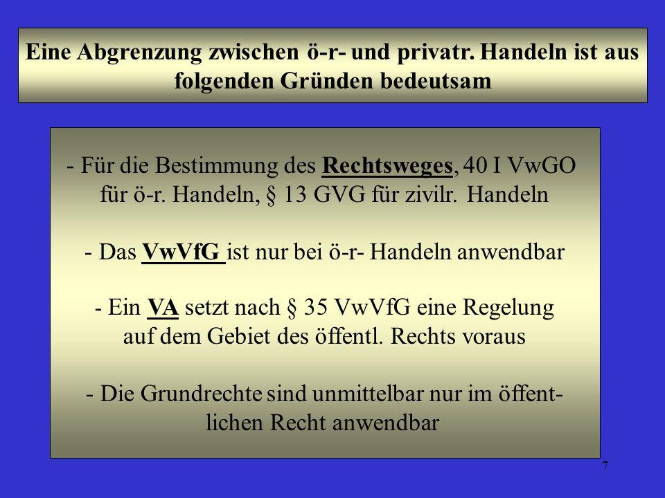 7 Eine Abgrenzung zwischen ö-r- und privatr. Handeln ist aus folgenden Gründen bedeutsam - Für die Bestimmung des Rechtsweges, 40 I VwGO für ö-r. Hand