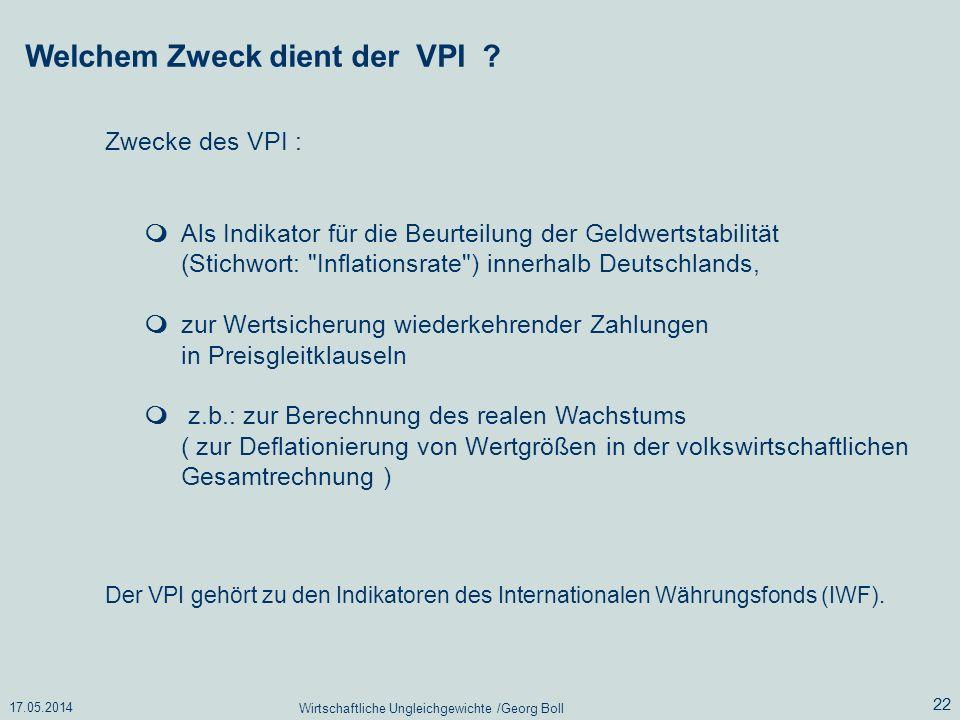 17.05.2014 Wirtschaftliche Ungleichgewichte /Georg Boll 22 Als Indikator für die Beurteilung der Geldwertstabilität (Stichwort:
