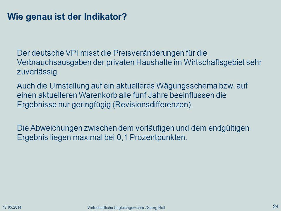 17.05.2014 Wirtschaftliche Ungleichgewichte /Georg Boll 24 Der deutsche VPI misst die Preisveränderungen für die Verbrauchsausgaben der privaten Haush