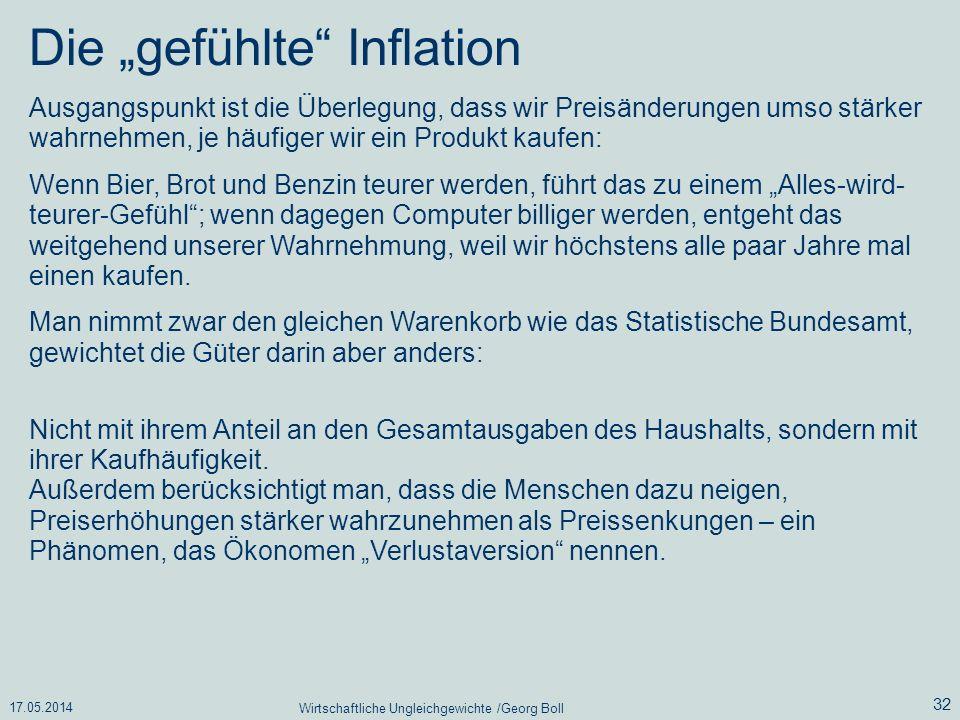 17.05.2014 Wirtschaftliche Ungleichgewichte /Georg Boll 32 Die gefühlte Inflation Ausgangspunkt ist die Überlegung, dass wir Preisänderungen umso stär