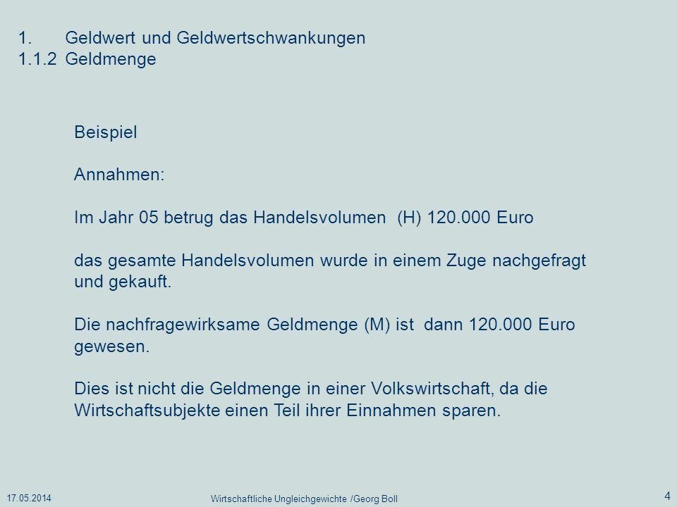 17.05.2014 Wirtschaftliche Ungleichgewichte /Georg Boll 4 1.Geldwert und Geldwertschwankungen 1.1.2Geldmenge Beispiel Annahmen: Im Jahr 05 betrug das